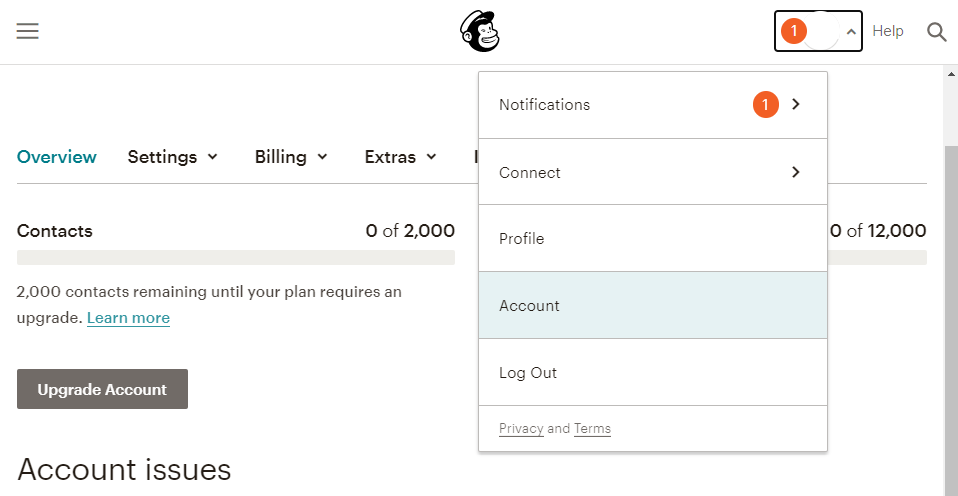 Accessing your MailChimp account options.