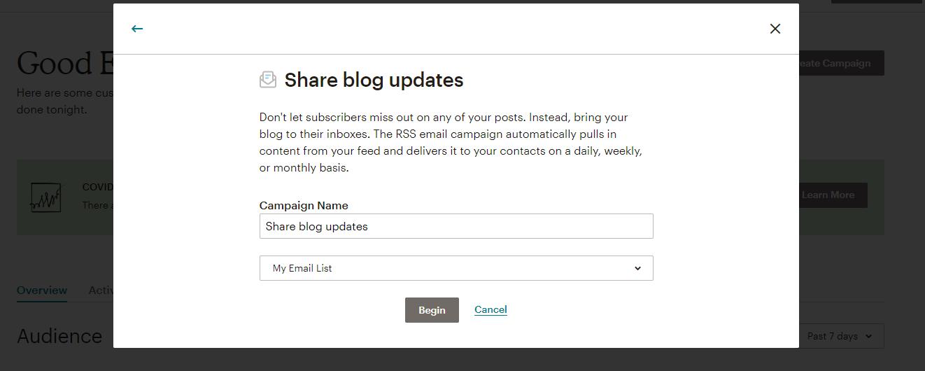 Share blog updates using MailChimp.